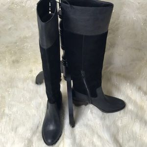 New Lucky Brand Over the Knee Black Leather Boots